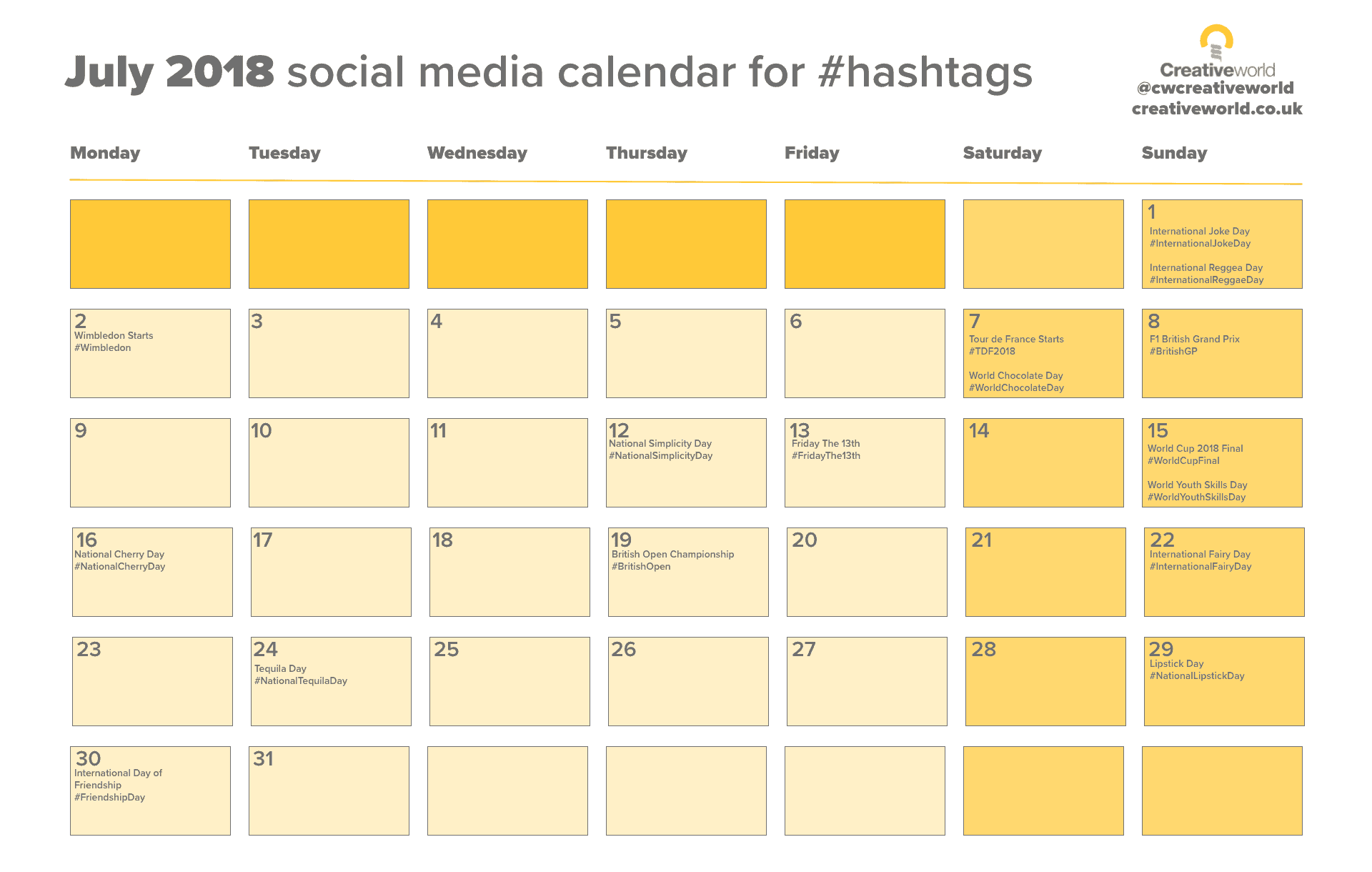 social media calendar july