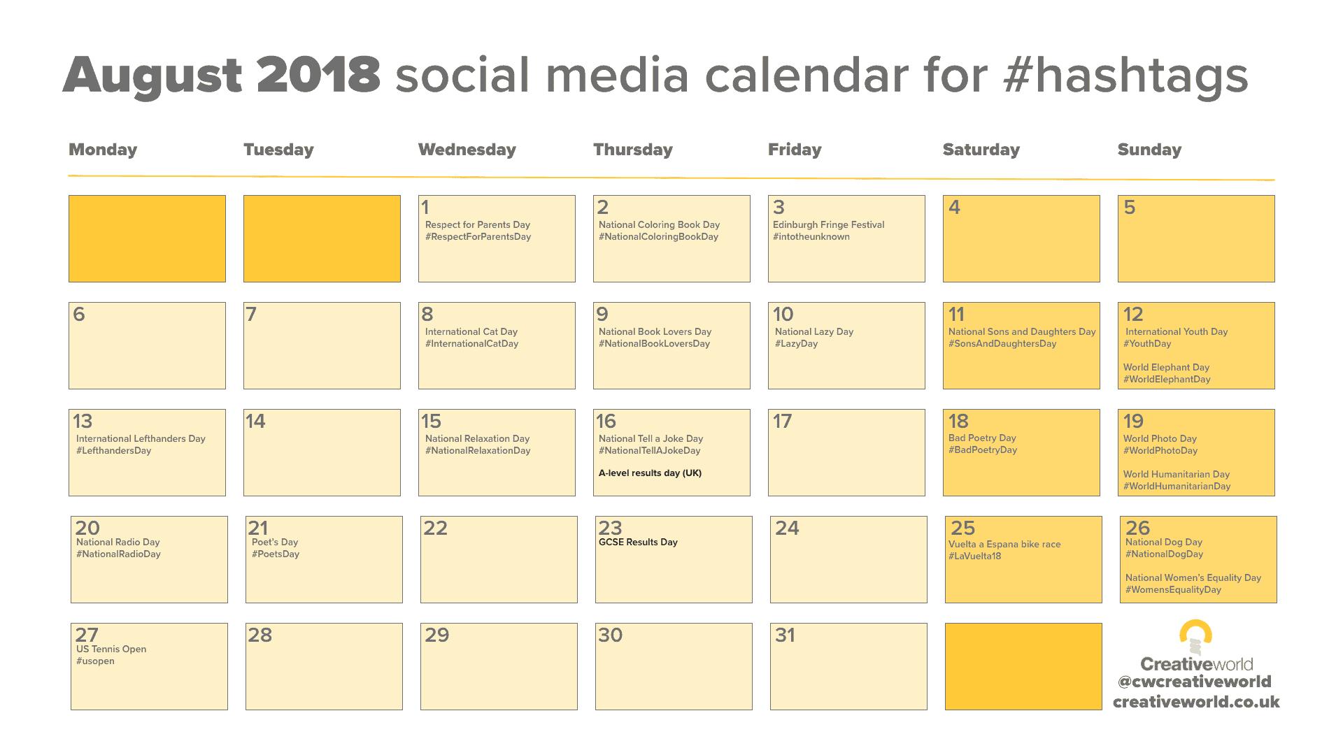 Your August Social Media Calendar 2018 - creativeworld