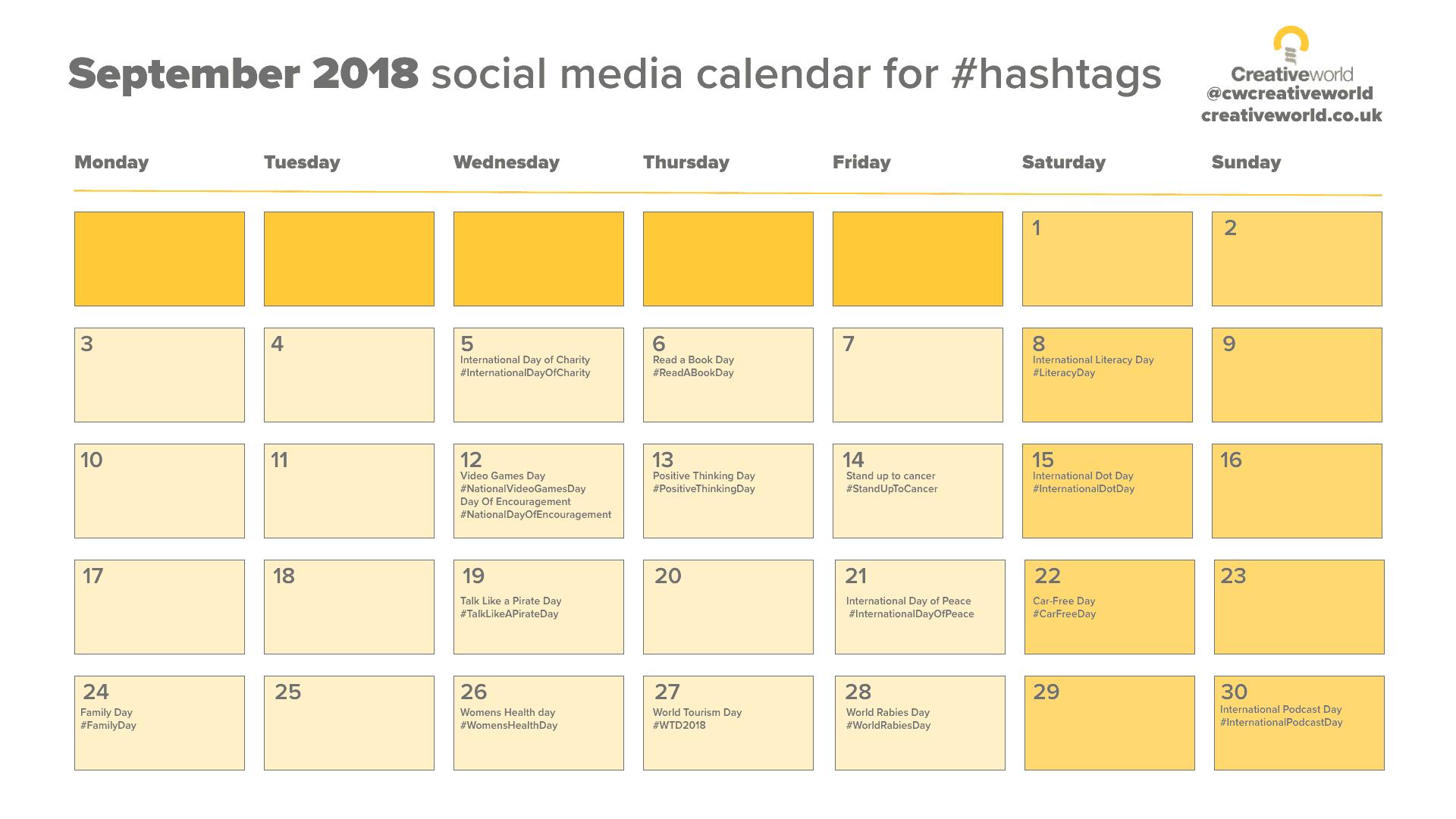 Social Media Calendar September 2018