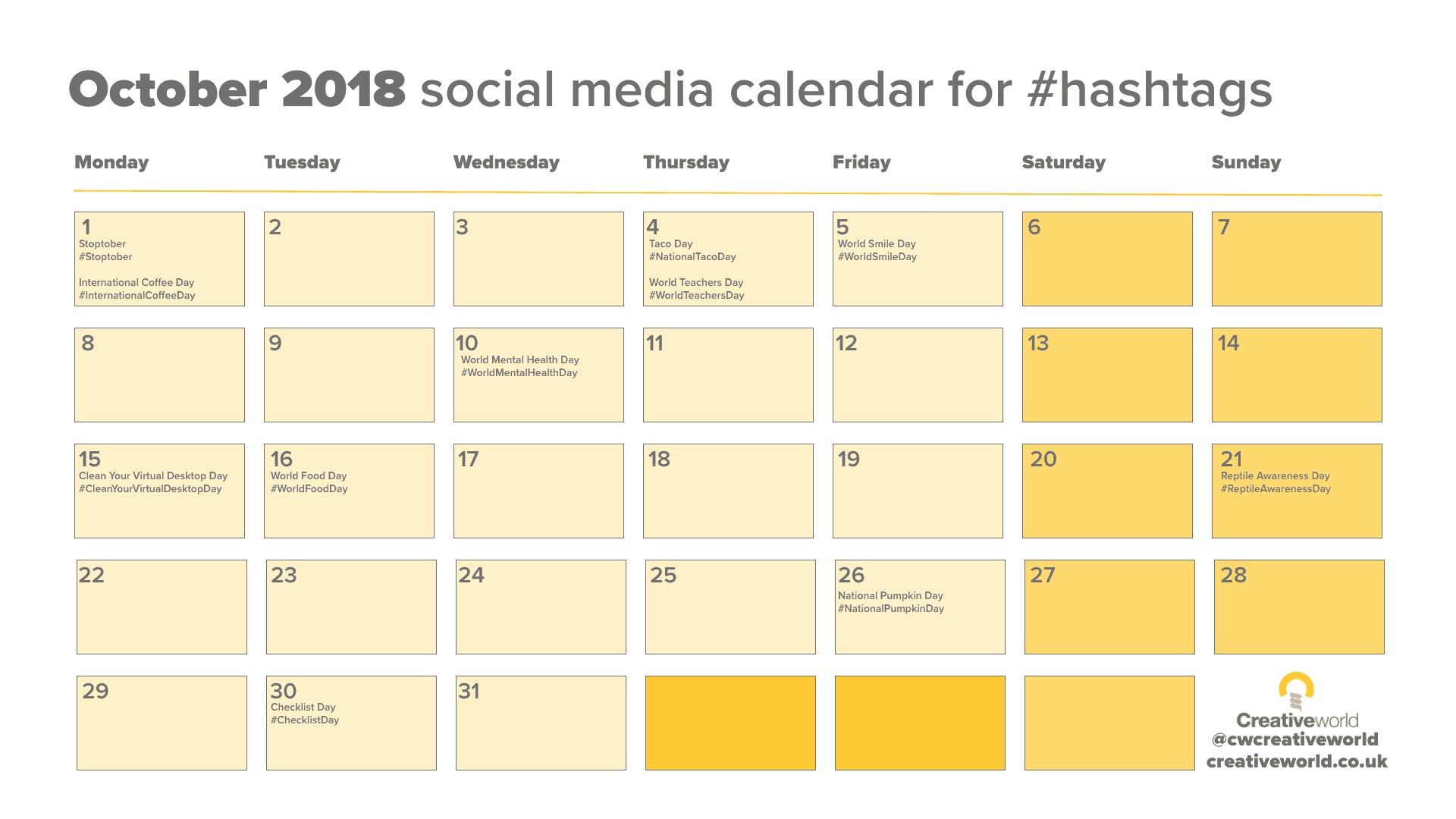 October Social Media Calendar 2018