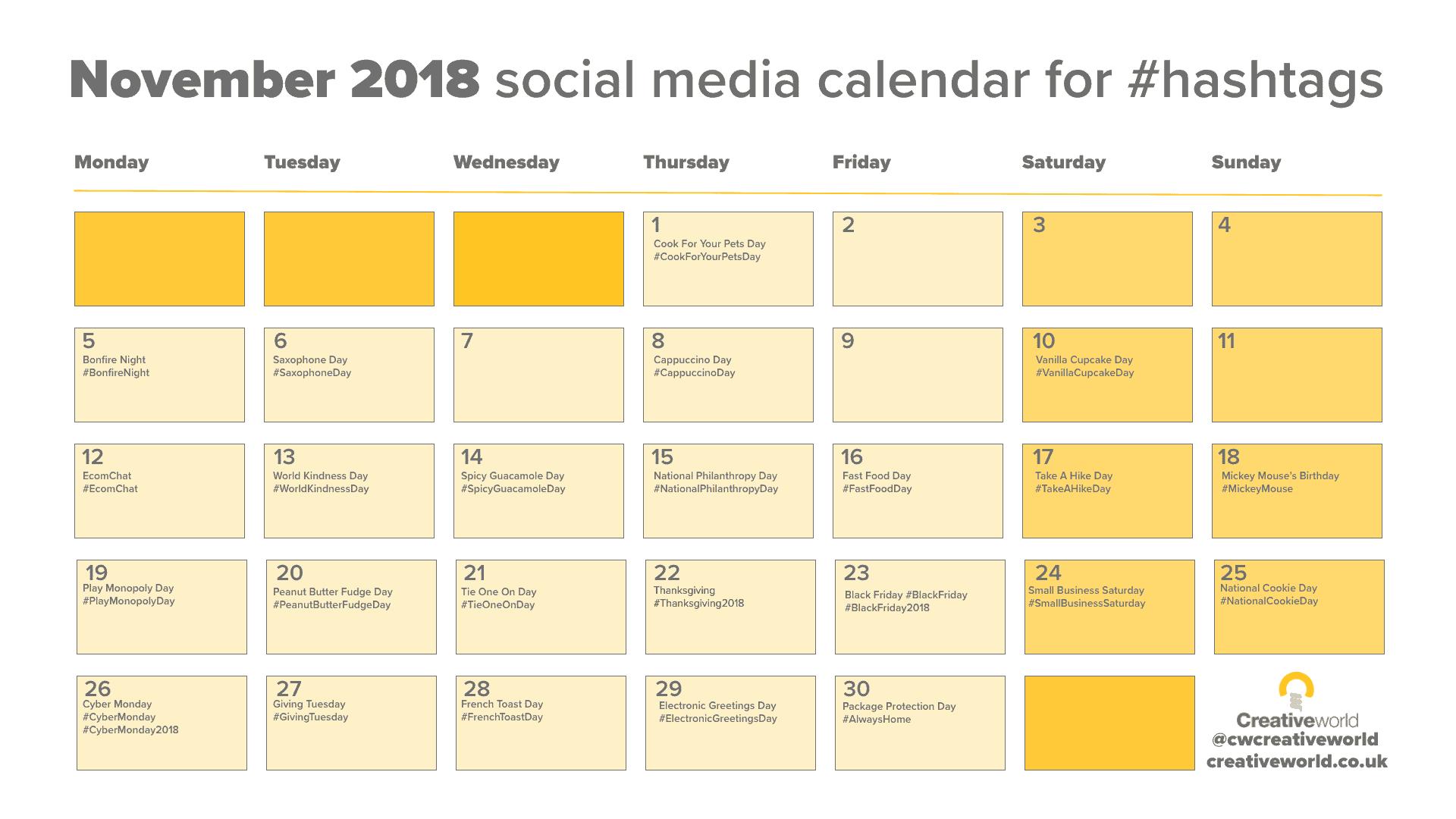 November Social Calendar