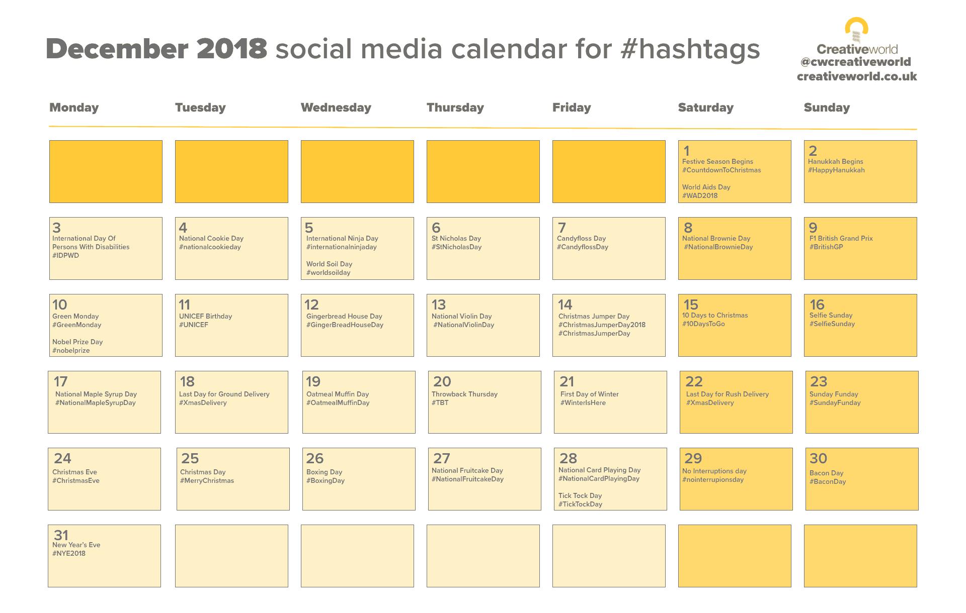 Your December Social media Calendar 2018
