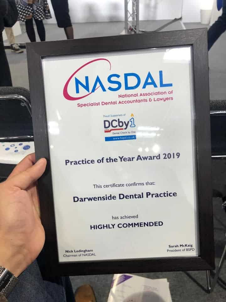 The Highly Commended Award given to Darwenside Dental Practice at the BDIA Dental Showcase 2019